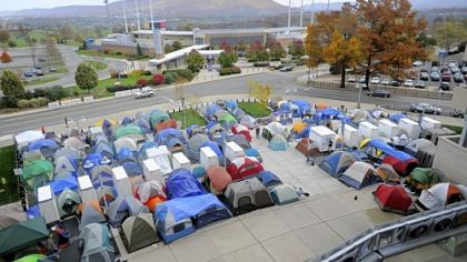 Tents are lined up at the Nittanyville campout in University Park, Pa. Students are camping out, waiting for a chance to buy the best seats in the first-come, first-served student section for a between Ohio State and Penn State.