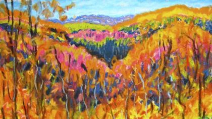 "This is a recent painting of fall color in Greene County by David Lesako, Miriam Rubin's husband, that they've been calling ""Van Glow."""