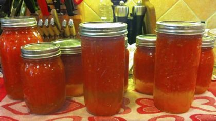 "Canned tomatoes at a class by Cathy Barrow, aka ""Mrs. Wheelbarrow.""
