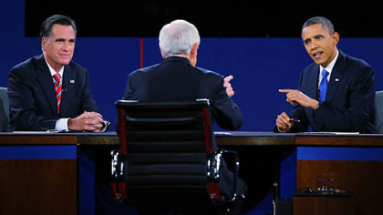 President Barack Obama debates with Republican presidential candidate Mitt Romney as moderator Bob Schieffer looks on.