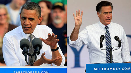 At left, President Barack Obama speaks during a campaign rally in Dayton, Ohio. At right, Republican presidential candidate Mitt Romney speaks during a campaign rally in Las Vegas.
