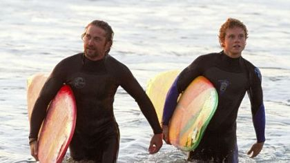 "Gerard Butler, left, and Jonny Weston star in the true surfing tale ""Chasing Mavericks."""