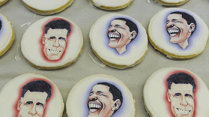 Edible paper with caricatures of the presidential candidates to shortbread cookies at Bethel Bakery in Bethel Park on Wednesday.