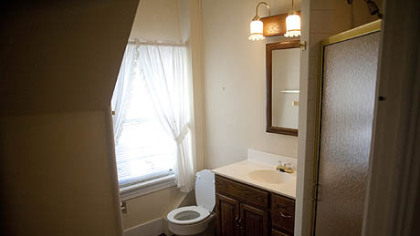 An upstairs bathroom.