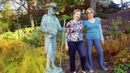 Cynthia Richey, left, library director, and Nancy Smith, head gardener, stand in the Mt. Lebanon Library courtyard garden.