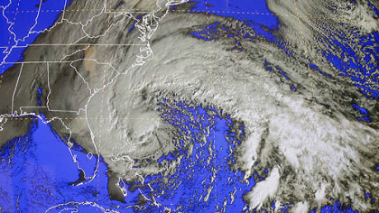 A satellite image of Sandy is shown at the National Hurricane Center in Miami, Saturday, Oct. 27, 2012.