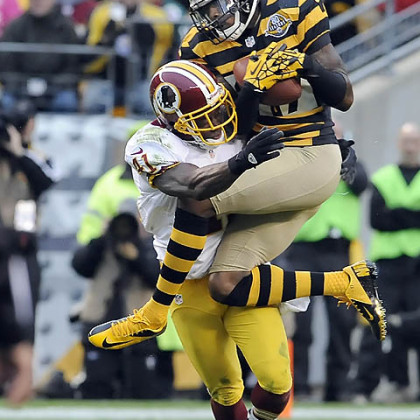 The Steelers' Mike Wallace pulls in a catch as he's defended by the Redskins' Madieu Williams in the first quarter.