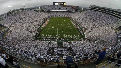Penn State kicks off to Ohio State before the start of an NCAA college football game at Beaver Stadium.