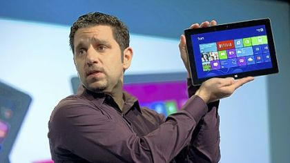 Panos Panay, general manager of Surface at Microsoft Corp., speaks during an event Thursday in New York City.