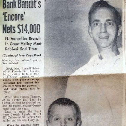 In 1962, Joseph and Gary Lynch were pictured in a Pittsburgh Press story describing a bank robbery that the father and son witnessed.