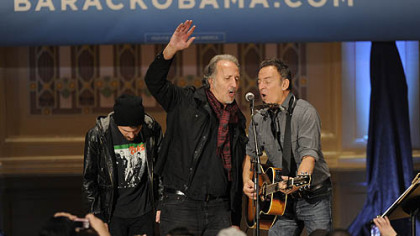 Joe Grushecky joins Bruce Springsteen at a rally organized by Obama for America at Soldiers & Sailors, Oakland.