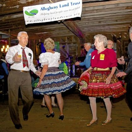 Square Dancing at Bounty in the Barn, Allegheny Land Trust event.