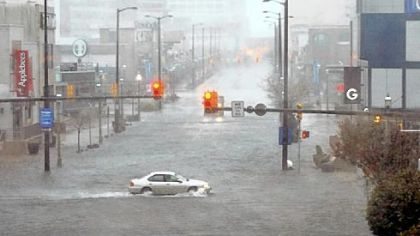 Flooding and high winds arrive Monday along North Michigan Avenue in Atlantic City, N.J.