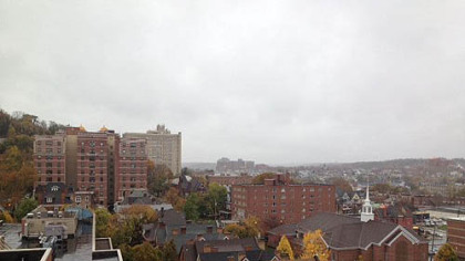 Gray skies over Pittsburgh's Oakland neighborhood as the beginnings of Hurricane Sandy begin to be felt this morning.