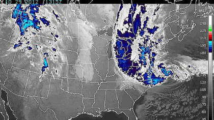 A National Oceanic and Atmospheric Administration satellite photo of the eastern United States taken at 9:15 a.m. EDT shows Hurricane Sandy and associated moisture.