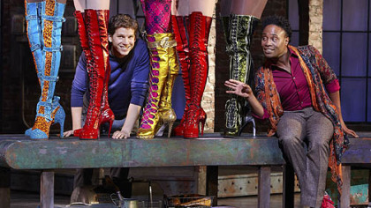 "Pittsburgh native Billy Porter, left, and co-star Stark Sands the musical adaptation of ""Kinky Boots,"" now in a pre-Broadway run in Chicago."
