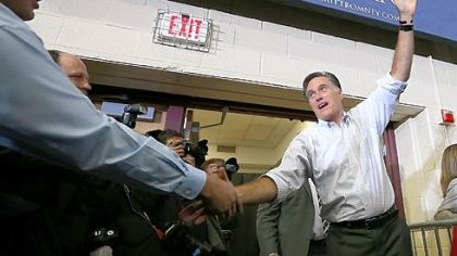 Republican presidential candidate Mitt Romney greets supporters during a campaign rally in Avon Lake, Ohio.