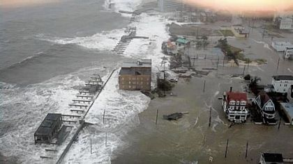 The Inlet section of Atlantic City, N.J., floods as Hurricane Sandy makes its approach Monday.