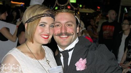 "Adam Causgrove and his girlfriend Chelsea Banks at the American Mustache Institute's ""Stache Bash 2012."""