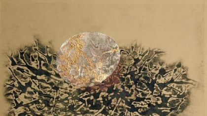 """Egg and Nest I,"" a collagraph and collage with copper leaf, by Kate Cheney Chappell."