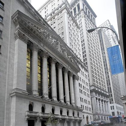 The streets surrounding the New York Stock Exchange are deserted Tuesday as financial markets remained closed for a second day because of Hurricane Sandy.