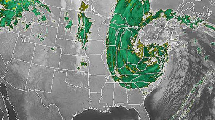A color-enhanced infrared satellite image taken 6:15 a.m. EDT shows the progress made by Sandy as it moved inland and across Pennsylvania.