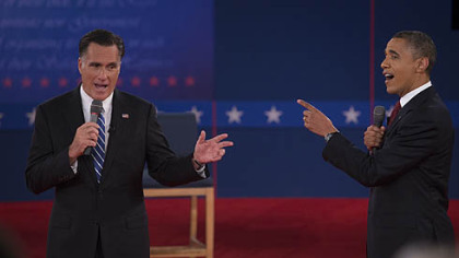 U.S. President Barack Obama and Mitt Romney, seen here at the second presidential debate earlier this month at Hofstra University in Hempstead, N.Y., are in a close competition for votes in Ohio.