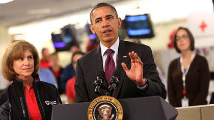 President Barack Obama speaks at the Red Cross headquarters about ongoing relief in the wake of Hurricane Sandy.