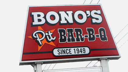 Bono&#039;s Bar-B-Q, sign in Gainsville, Florida.