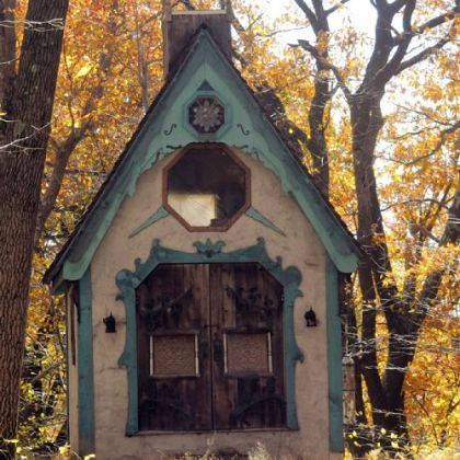 A chapel built by Ted Carns from recycled wood at Stone Camp, where friends have been married.