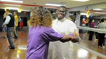 Hal Jones shares a dance with Betsy Rascoe at the Steel City Ballroom in Mt. Lebanon.