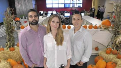 From left, Joey Rahimi, Christina Koshzow and Chris Mason, co-founders of Branding Brand, at the company's South Side office.