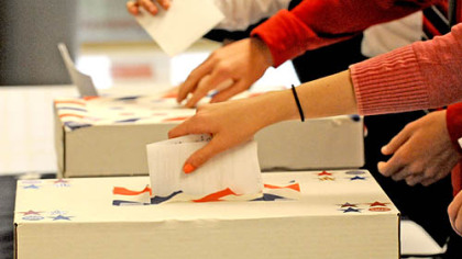 Students cast their ballots in today's mock election at Upper St. Clair.