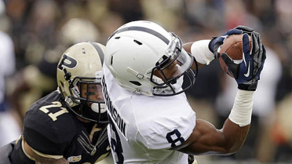 Penn State wide receiver Allen Robinson makes a catch against Purdue cornerback Ricardo Allen during the first half.