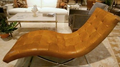 Lee Industries stainless steel and leather chaise.