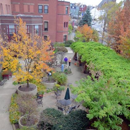 An overhead look of the Seeders and Weeders Garden at Canterbury Place in Lawrenceville.