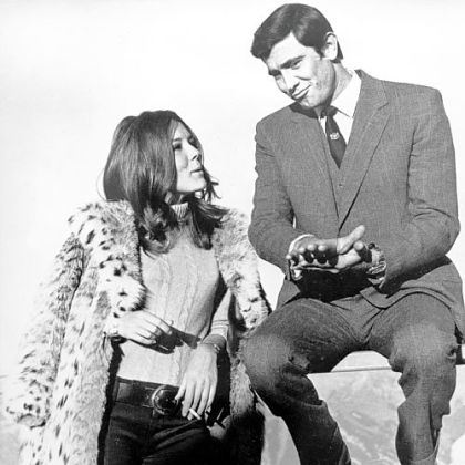 "George Lazenby, right, as James Bond and actress Diana Rigg in ""On Her Majesty's Secret Service."""