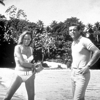 "Ursula Andress co-starred as Honey Ryder with Sean Connery as James Bond in ""Dr. No"" (1962)."