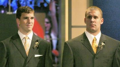 The day that changed a decade: Eli Manning, left, and Ben Roethlisberger on Draft Day 2004 in New York. Manning went first, Roethlisberger 11th and between them they went on to win four Super Bowls and play in five.