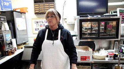 Kim Grimm is the owner of Canal Street Diner in Bolivar, Ohio, a small town south of Canton. She believes Barack Obama deserves four more years to remedy the mistakes of the Bush administration.