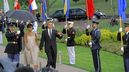 The president and first lady at 2009's G-20 welcoming reception at Phipps Conservatory.