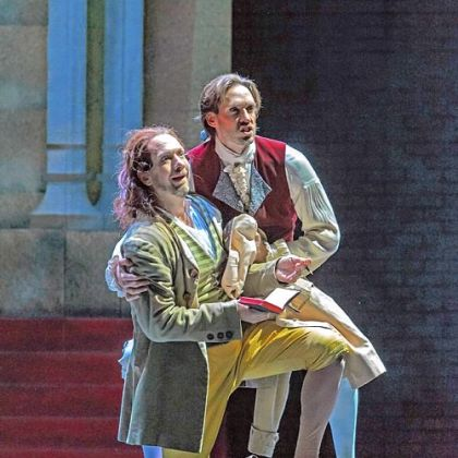 Don Giovanni&#039;s servant, Leporello (Wayne Tigges, left), and Don Giovanni (Michael Todd Simpson) are amazed to hear the voice of the dead Commendatore in the graveyard, warning Giovanni that he must repent in Pittsburgh Opera&#039;s &quot;Don Giovanni.&quot;