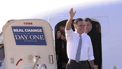 Republican presidential candidate Mitt Romney lands at Pittsburgh International Airport today.