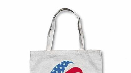 Vintage-style Romney canvas tote bag, $20.