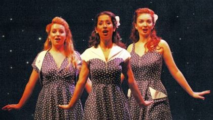 "Bre Pursell, left, Kristiann Menotiades and Katie Oxman perform classics from Rodgers & Hammerstein in Pittsburgh CLO's ""A Grand Night for Singing."""