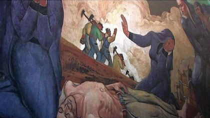 "Detail of Maxo Vanka mural ""Immigrant Mothers Raise their Sons for American Industry,"" with mothers mourning the death of a son who died in a mine accident in Johnstown."