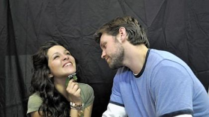"Magan Dee Yantko is Clarisse and Justin Patrick Mohr is Guy Montag in Prime Stage's ""Farenheit 451."""