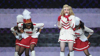 "Madonna performs ""Give Me All Your Lovin' "" during her election-night concert at the Consol Energy Center."