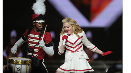 "Madonna performs ""Give Me All Your Lovin'"" during her concert Tuesday at the Consol Energy Center."