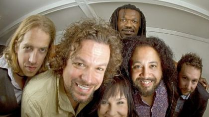 Rusted Root, from left: Colter Harper, Michael Glabicki, Liz Berlin, Peach  Freedom (back), Patrick Norman and Dirk Miller.
